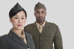 Portret van de jonge militaire ambtenaren van de V.S. in eenvormig over grijze achtergrond Royalty-vrije Stock Foto's