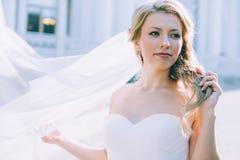 Portret van de jonge mooie bruid Stock Foto