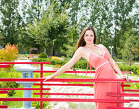 Portret van de jonge mooie glimlachende vrouw met lang haar in openlucht Stock Afbeeldingen
