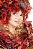 Portret van de jonge mooie vrouw met de herfst Stock Afbeelding