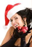 Portret van de jonge vrouw in de hoed van de Kerstman Stock Afbeeldingen