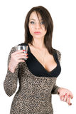 Portret van de jonge vrouw met een glas stock foto's