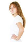 Portret van de jonge vrouw op een witte achtergrond met klein s Royalty-vrije Stock Foto