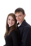 Portret van de jongen en het meisje van de tienerleeftijd stock foto's