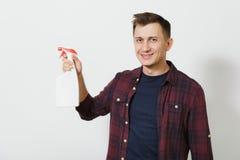 Portret van de knappe ernstige Kaukasische jonge die mens op witte achtergrond wordt geïsoleerd Exemplaarruimte voor reclame Met  stock foto