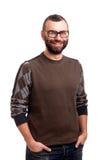 Portret van de knappe jonge mens met baard royalty-vrije stock afbeeldingen