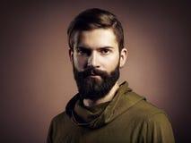 Portret van de knappe mens met baard Stock Foto