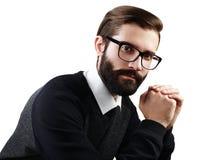 Portret van de knappe mens met baard Royalty-vrije Stock Foto
