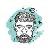 Portret van de knappe modieuze mens, hipster met baard Ruimte, melkweg en planeten Creatieve mening vector illustratie