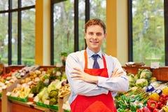 Portret van de manager van de supermarktopslag Stock Afbeeldingen