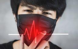 Portret van de mens die verontreinigingspreventie of griepmasker met gevaar dragen stock fotografie