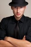Portret van de mens in een hoed Stock Afbeeldingen