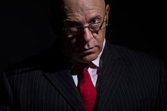 Portret van de mens in het kostuum van de speldstreep Stock Fotografie