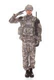Portret van de Mens in het Militaire Eenvormige Groeten Royalty-vrije Stock Afbeeldingen