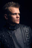 Portret van de mens in het motorfietsjasje Royalty-vrije Stock Fotografie