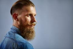 Portret van de mens met baard en snor royalty-vrije stock afbeeldingen