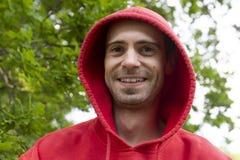 Portret van de mens met kap stock foto's