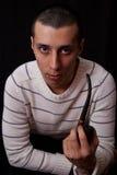 Portret van de mens met pijp Stock Foto's