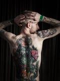 Portret van de mens met tatoegering Stock Afbeelding
