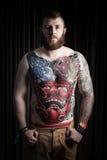 Portret van de mens met tatoegering Royalty-vrije Stock Fotografie