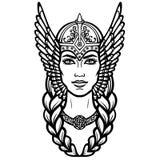 Portret van de mooie jonge vrouw Valkyrie Heidense godin, mythisch karakter royalty-vrije illustratie