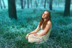 Portret van de mooie zitting van het roodharigemeisje op de weide met vergeet-mij-nietjebloemen Royalty-vrije Stock Foto
