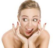 Portret van de natuurlijke positieve emoties van het schoonheidsmeisje Royalty-vrije Stock Foto's