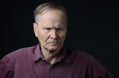 Portret van de oude droevige mens Stock Afbeelding