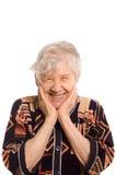 Portret van de oude glimlachende vrouw royalty-vrije stock foto