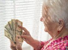 Portret van de oude grijs-haired dollars van de vrouwenholding in handen stock afbeeldingen