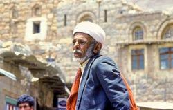 Portret van de oude hogere mens met de typische yemenite kleding royalty-vrije stock foto