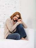 Portret van de redhaired vrouw Stock Afbeelding