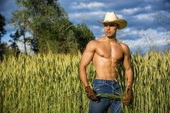 Portret van de rustieke mens in shirtless cowboyhoed, stock fotografie