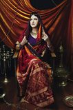 Portret van de schoonheids het donkerbruine Indische vrouw Hindoes modelmeisje met bruine ogen Indisch meisje in Sari Stock Foto