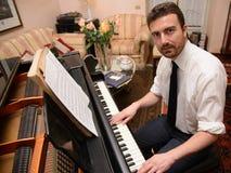 Portret van de speelmuziek van de muziekuitvoerder Stock Foto's