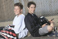 Portret van de speler van de hockeybal met hockeystok Stock Foto