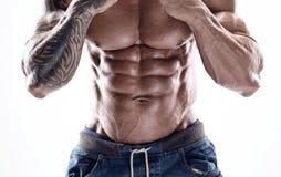 Portret van de sterke Atletische Geschiktheidsmens die grote spieren tonen stock foto's