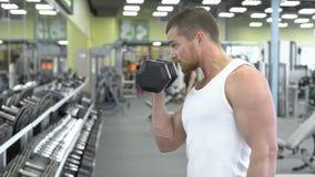 Portret van de sterke atletische mens bij de gymnastiek opleiding de bodybuilder doet een oefening op de bicepsen met domoren Stock Afbeeldingen