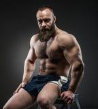 Portret van de sterke gebaarde mens met perfecte abs, de schouders van Pecs, stock foto