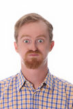 Portret van de verbaasde mens Stock Fotografie