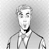 Portret van de verraste mens Verraste zakenman Verraste mens Conceptenidee van reclame en promo Retro pop-art stock fotografie