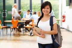 Portret van de Vrouwelijke Digitale Tablet van Studentenin classroom with Stock Afbeeldingen