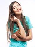 Portret van de vrouwen toevallig portret van Yong, glimlach, mooi model Royalty-vrije Stock Fotografie