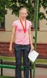 Portret van de winnaar van de triathlonconcurrentie Royalty-vrije Stock Foto's