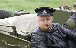 Portret van de zeeambtenaar van het Sovjetleger met een pijp. Royalty-vrije Stock Fotografie