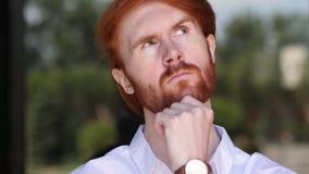 Portret van Denkende Jonge Ontwerper, Brainstorming stock footage