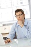 Portret van denkende zakenman Stock Foto's