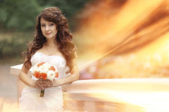 Portret van donkerbruine bruid Stock Afbeelding