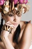 Portret van donkerbruine vrouw Royalty-vrije Stock Afbeeldingen