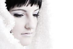 Portret van donkerbruine vrouw royalty-vrije stock afbeelding